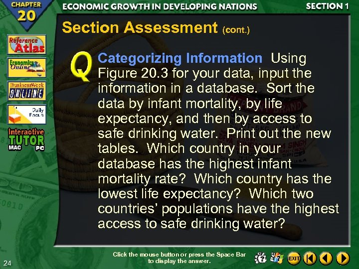 Section Assessment (cont. ) Categorizing Information Using Figure 20. 3 for your data, input