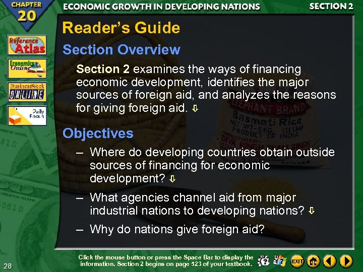 Reader's Guide Section Overview Section 2 examines the ways of financing economic development, identifies