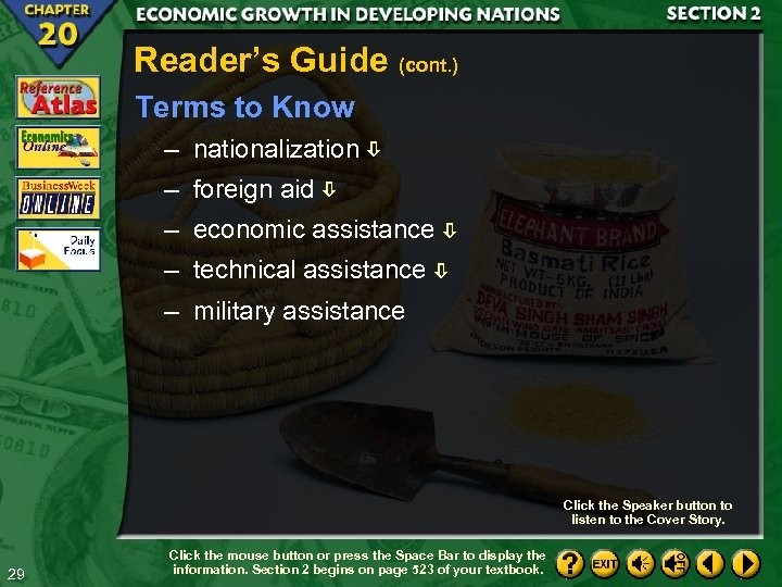 Reader's Guide (cont. ) Terms to Know – nationalization – foreign aid – economic