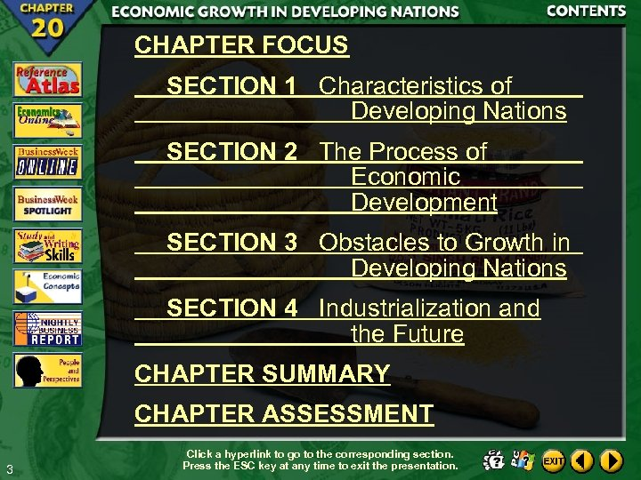 CHAPTER FOCUS SECTION 1 Characteristics of Developing Nations SECTION 2 The Process of Economic