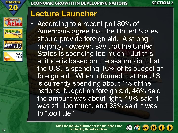 Lecture Launcher • According to a recent poll 80% of Americans agree that the
