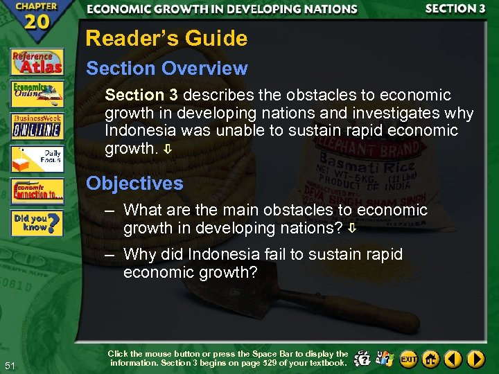 Reader's Guide Section Overview Section 3 describes the obstacles to economic growth in developing