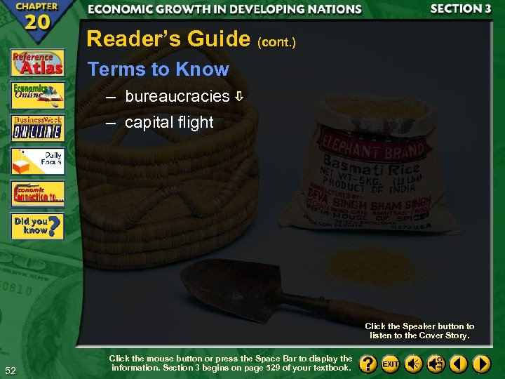 Reader's Guide (cont. ) Terms to Know – bureaucracies – capital flight Click the