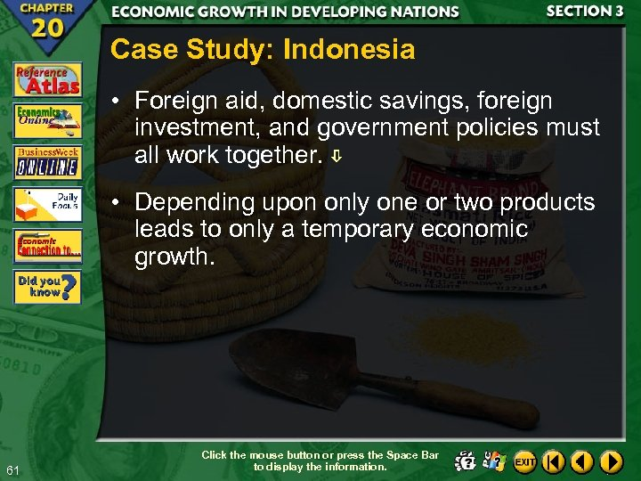 Case Study: Indonesia • Foreign aid, domestic savings, foreign investment, and government policies must