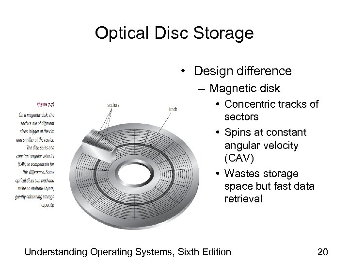 Optical Disc Storage • Design difference – Magnetic disk • Concentric tracks of sectors