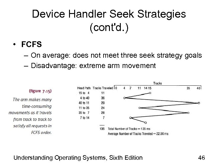 Device Handler Seek Strategies (cont'd. ) • FCFS – On average: does not meet