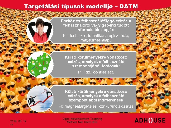 Targetálási típusok modellje – DATM Eszköz és felhasználófüggő célzás a felhasználóról vagy gépéről tudott