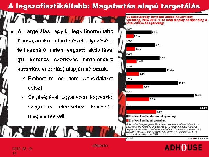 A legszofisztikáltabb: Magatartás alapú targetálás n A targetálás egyik legkifinomultabb típusa, amikor a hirdetés