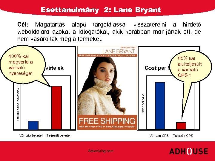 Esettanulmány 2: Lane Bryant Cél: Magatartás alapú targetálással visszaterelni a hirdető weboldalára azokat a