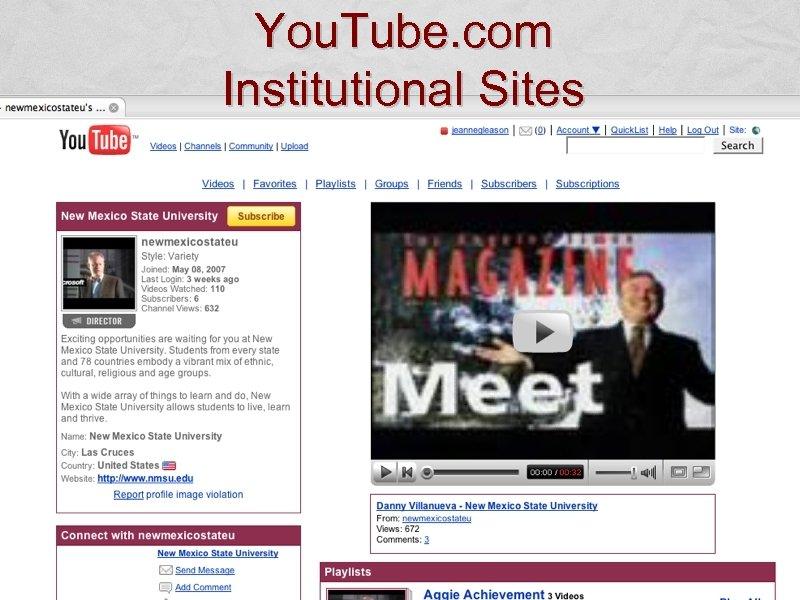 You. Tube. com Institutional Sites
