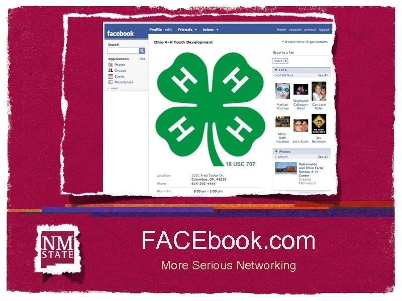 FACEbook. com More Serious Networking