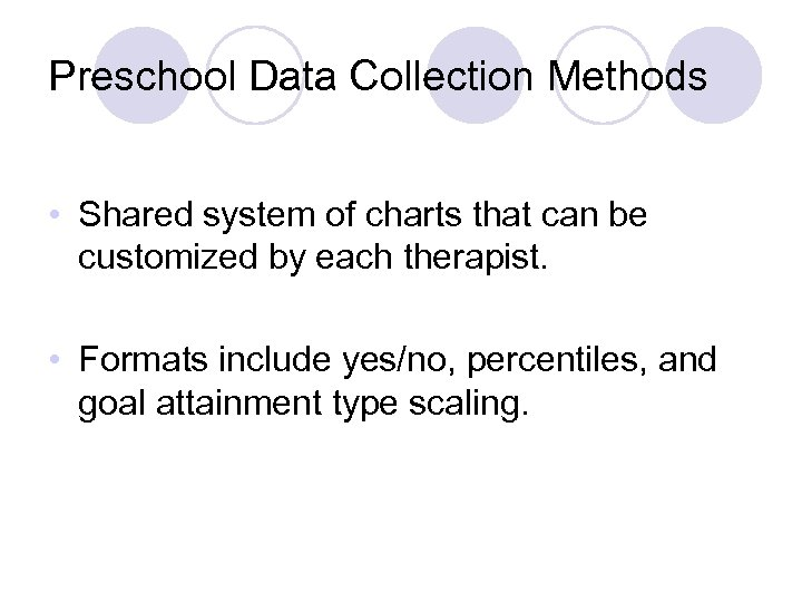 Preschool Data Collection Methods • Shared system of charts that can be customized by