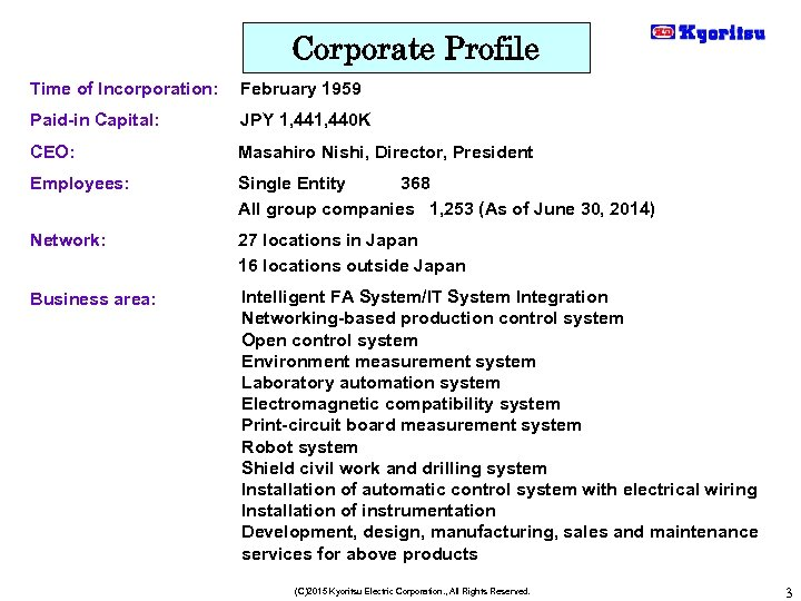 Corporate Profile Time of Incorporation: February 1959 Paid-in Capital: JPY 1, 440 K