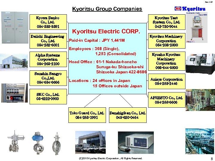 Rev. 1107 Kyoritsu Group Companies Kyowa Denko Co. , Ltd. 054 -353 -5391 Daiichi