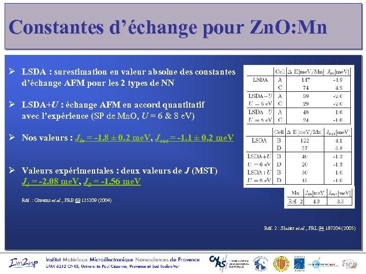 Constantes d'échange pour Zn. O: Mn Ø LSDA : surestimation en valeur absolue des