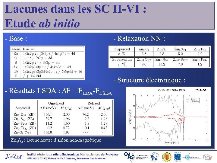 Lacunes dans les SC II-VI : Etude ab initio - Base : - Relaxation