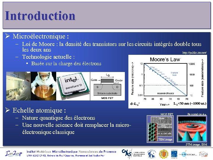 Introduction Ø Microélectronique : – Loi de Moore : la densité des transistors sur