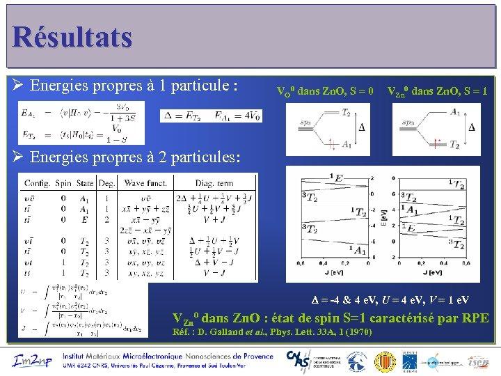 Résultats Ø Energies propres à 1 particule : VO 0 dans Zn. O, S