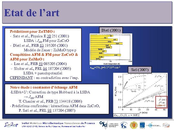 Etat de l'art Prédictions pour Zn. TMO : - Sato et al. , Physica
