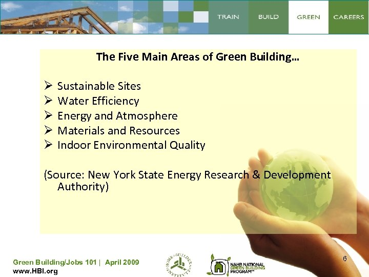 The Five Main Areas of Green Building… Ø Ø Ø Sustainable Sites Water Efficiency