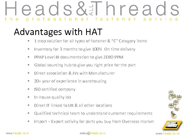 """Advantages with HAT § 1 stop solution for all types of fastener & """"C"""""""