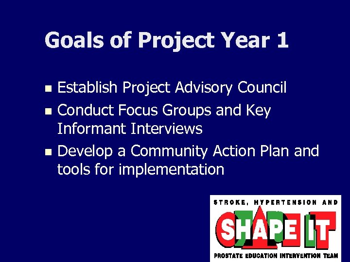 Goals of Project Year 1 Establish Project Advisory Council n Conduct Focus Groups and