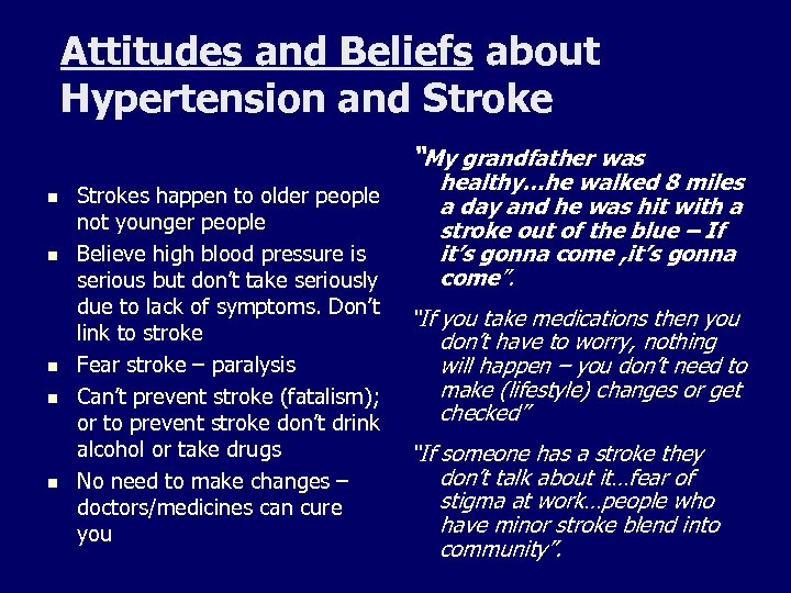 "Attitudes and Beliefs about Hypertension and Stroke ""My grandfather was n n n Strokes"