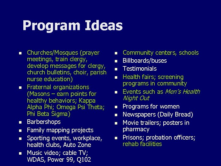 Program Ideas n n n Churches/Mosques (prayer meetings, train clergy, develop messages for clergy,