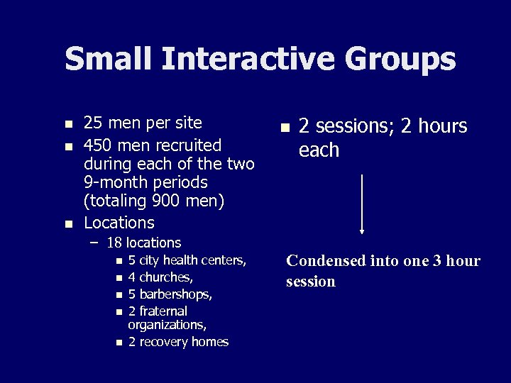 Small Interactive Groups n n n 25 men per site 450 men recruited during