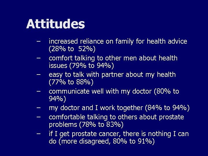 Attitudes – – – – increased reliance on family for health advice (28% to