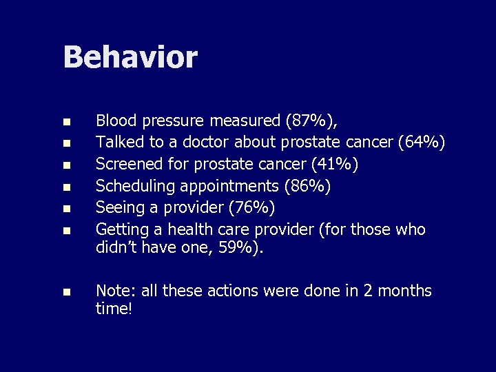 Behavior n n n n Blood pressure measured (87%), Talked to a doctor about