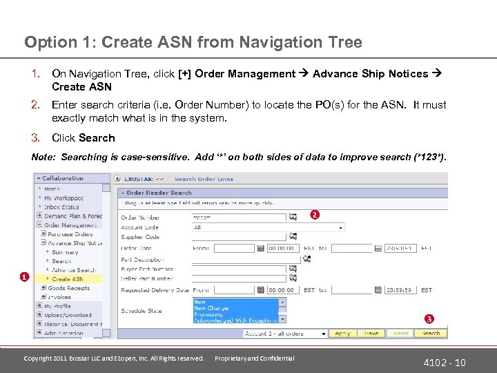 Option 1: Create ASN from Navigation Tree 1. On Navigation Tree, click [+] Order