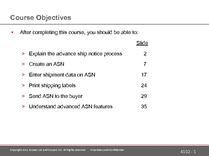 Course Objectives • After completing this course, you should be able to: Slide >
