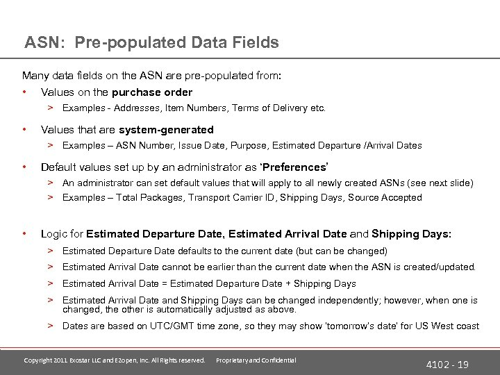 ASN: Pre-populated Data Fields Many data fields on the ASN are pre-populated from: •