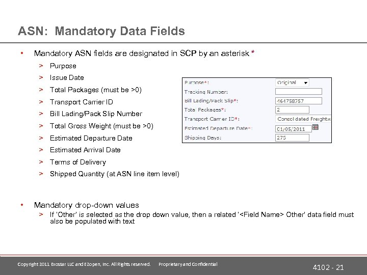 ASN: Mandatory Data Fields • Mandatory ASN fields are designated in SCP by an