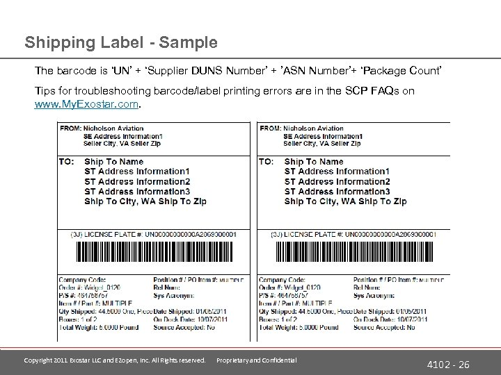 Shipping Label - Sample The barcode is 'UN' + 'Supplier DUNS Number' + 'ASN