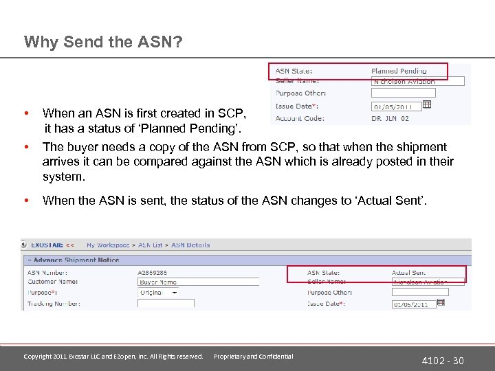 Why Send the ASN? • • When an ASN is first created in SCP,