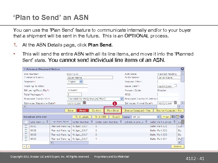 'Plan to Send' an ASN You can use the 'Plan Send' feature to communicate