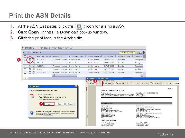 Print the ASN Details 1. At the ASN List page, click the ( )