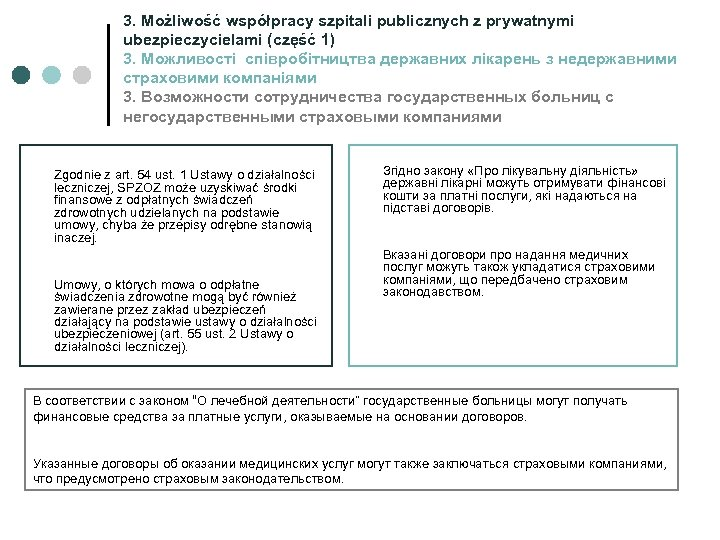 3. Możliwość współpracy szpitali publicznych z prywatnymi ubezpieczycielami (część 1) 3. Можливості співробітництва державних