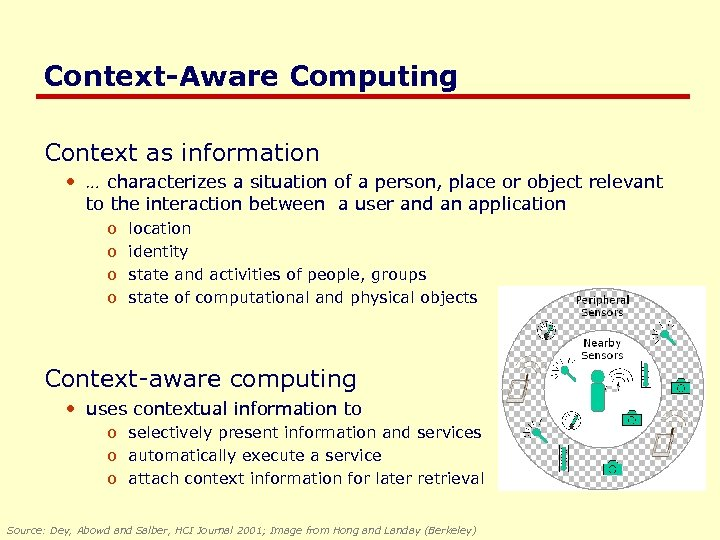 Context-Aware Computing Context as information • … characterizes a situation of a person, place