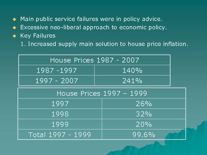 u u u Main public service failures were in policy advice. Excessive neo-liberal approach
