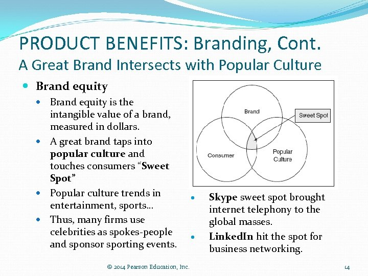 PRODUCT BENEFITS: Branding, Cont. A Great Brand Intersects with Popular Culture Brand equity is