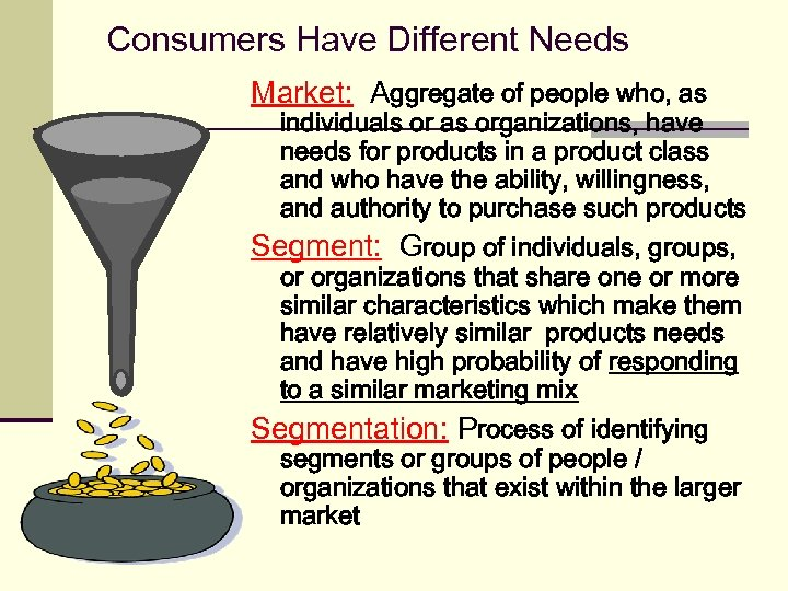 Consumers Have Different Needs Market: Aggregate of people who, as individuals or as organizations,