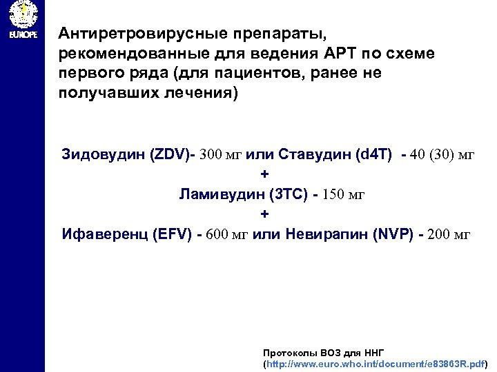 Антиретровирусные препараты, рекомендованные для ведения АРТ по схеме первого ряда (для пациентов, ранее не