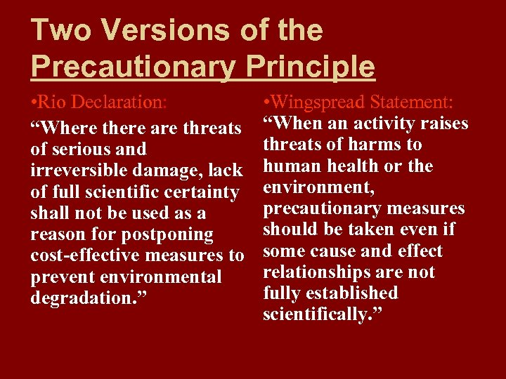 "Two Versions of the Precautionary Principle • Rio Declaration: ""Where there are threats of"
