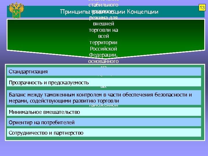 обеспечение стабильного Принципы правового реализации Концепции режима для внешней торговли на всей территории Российской