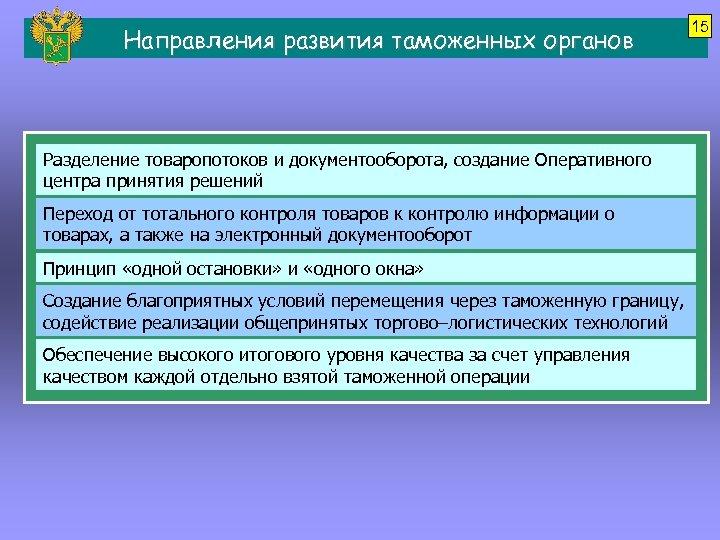 Направления развития таможенных органов Разделение товаропотоков и документооборота, создание Оперативного центра принятия решений Переход