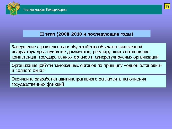 Реализация Концепции II этап (2008 -2010 и последующие годы) Завершение строительства и обустройства объектов