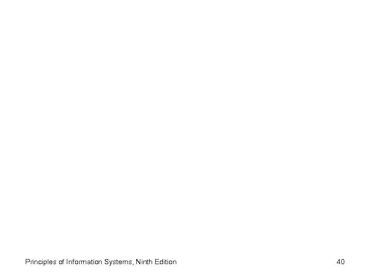 Principles of Information Systems, Ninth Edition 40